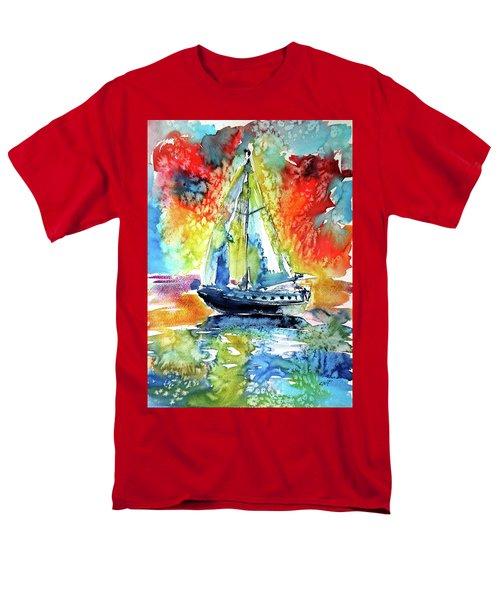Rainbow Sailboat At Sunset Men's T-Shirt  (Regular Fit) by Kovacs Anna Brigitta