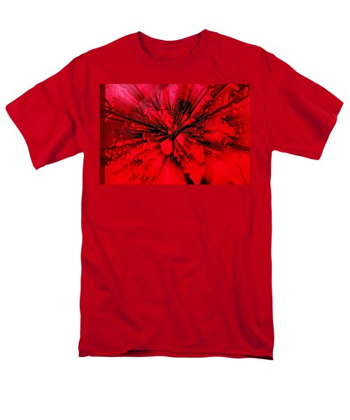 Men's T-Shirt  (Regular Fit) featuring the photograph Red And Black Explosion by Susan Capuano