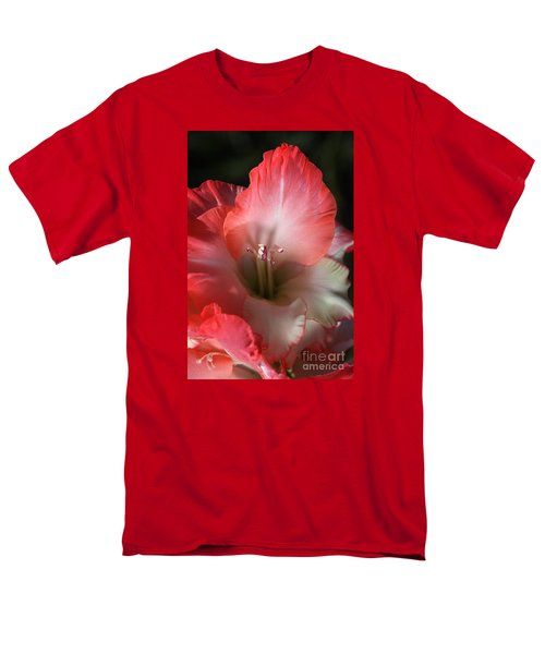 Red And White Gladiolus Flower Men's T-Shirt  (Regular Fit) by Joy Watson
