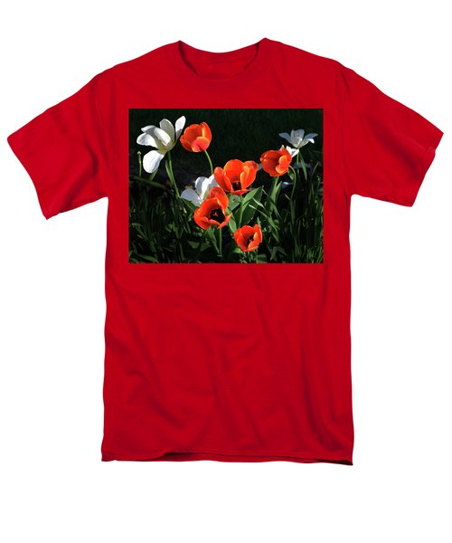 Red And White Tulips Men's T-Shirt  (Regular Fit) by Kathleen Stephens