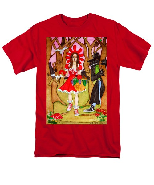 Men's T-Shirt  (Regular Fit) featuring the painting The Little Riding Hood And The Wolf In Chucks by Don Pedro De Gracia