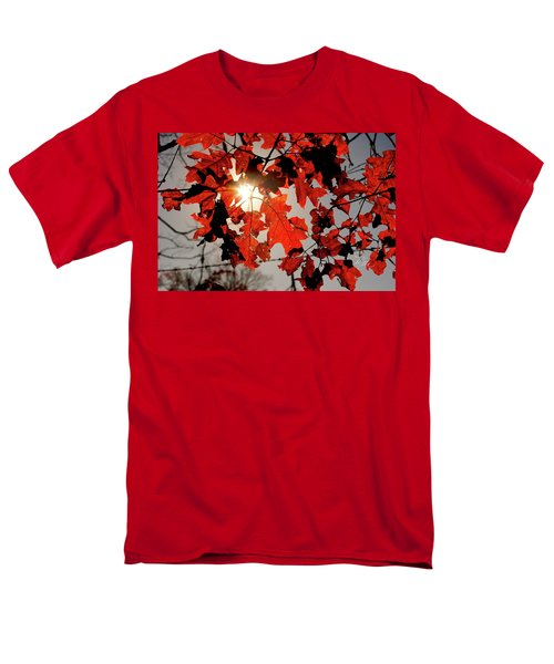 Men's T-Shirt  (Regular Fit) featuring the photograph Red Fall Leaves by Meta Gatschenberger