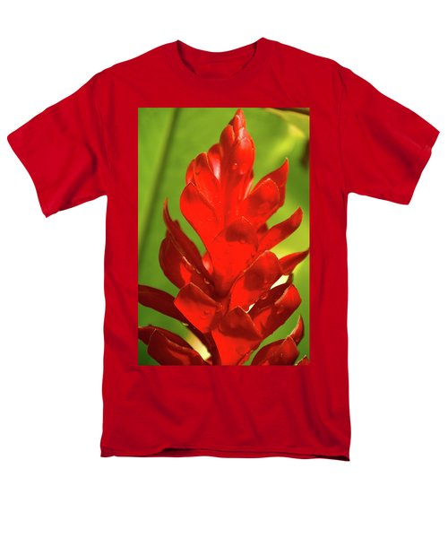 Red Ginger Bud After Rainfall Men's T-Shirt  (Regular Fit) by Michael Courtney