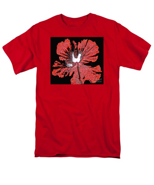 Red Hibiscus Flower In Three Dimensions Men's T-Shirt  (Regular Fit) by Merton Allen