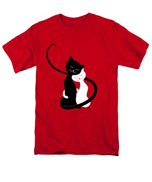 Red Hugging Love Cats Men's T-Shirt  (Regular Fit)