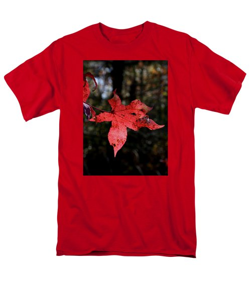 Men's T-Shirt  (Regular Fit) featuring the photograph Red Leaf by Karen Harrison