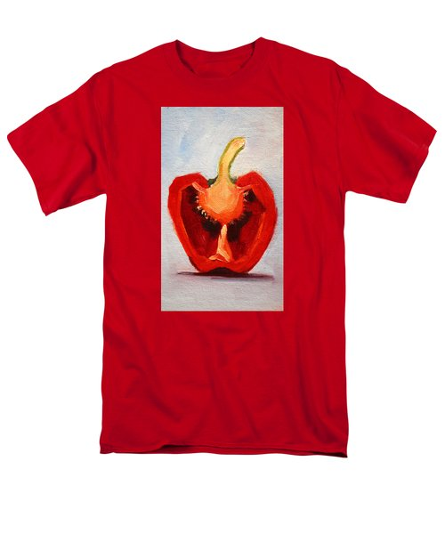 Men's T-Shirt  (Regular Fit) featuring the painting Red Pepper Sliced by Nancy Merkle
