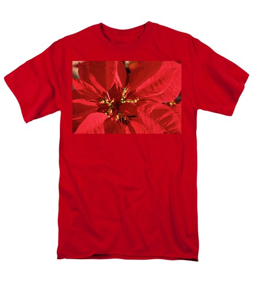 Red Poinsettia Macro Men's T-Shirt  (Regular Fit) by Sally Weigand