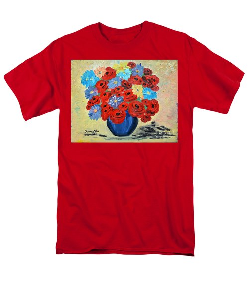 Red Poppies And All Kinds Of Daisies  Men's T-Shirt  (Regular Fit) by Ramona Matei