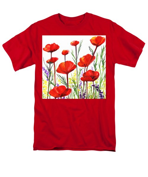 Men's T-Shirt  (Regular Fit) featuring the painting Red Poppies Art By Irina Sztukowski by Irina Sztukowski