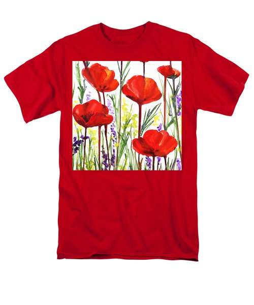 Men's T-Shirt  (Regular Fit) featuring the painting Red Poppies Watercolor By Irina Sztukowski by Irina Sztukowski