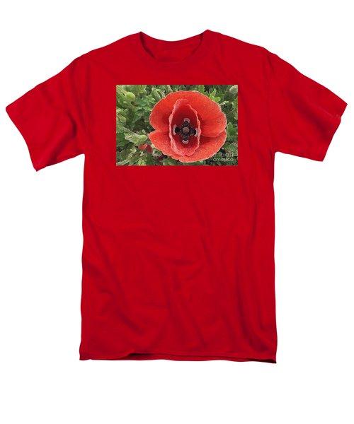 Men's T-Shirt  (Regular Fit) featuring the photograph Red Poppy Flower 2 by Jean Bernard Roussilhe