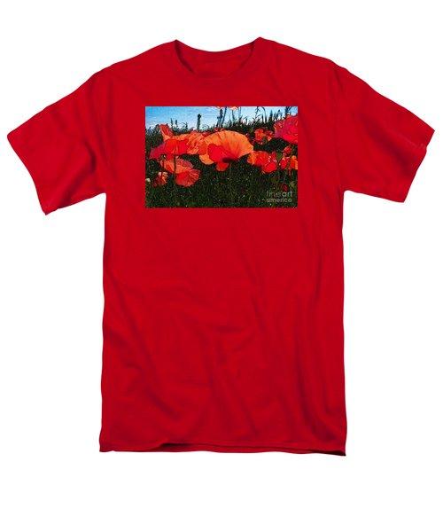 Men's T-Shirt  (Regular Fit) featuring the photograph Red Poppy Flowers In Grassland by Jean Bernard Roussilhe