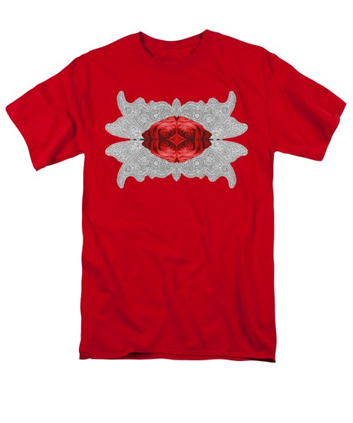 Men's T-Shirt  (Regular Fit) featuring the digital art Red Rose Abstract On Digital Lace by Linda Phelps
