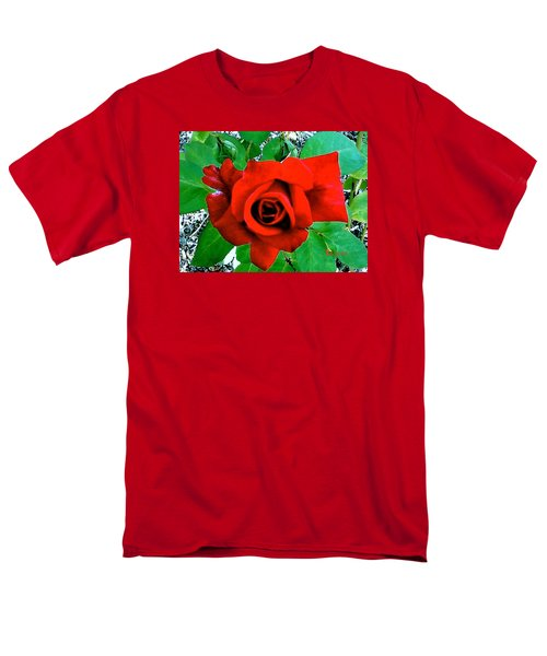 Men's T-Shirt  (Regular Fit) featuring the photograph Red Velvet Rose by Sadie Reneau