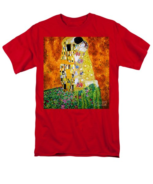 Men's T-Shirt  (Regular Fit) featuring the painting Reproduction Of The Kiss By Gustav Klimt by Zedi