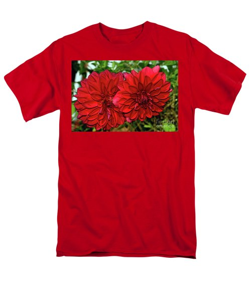 Men's T-Shirt  (Regular Fit) featuring the photograph Rich Red Dahlias By Kaye Menner by Kaye Menner