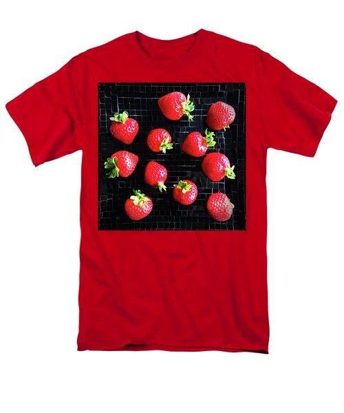Ripe Strawberries On Back Plate Men's T-Shirt  (Regular Fit) by GoodMood Art