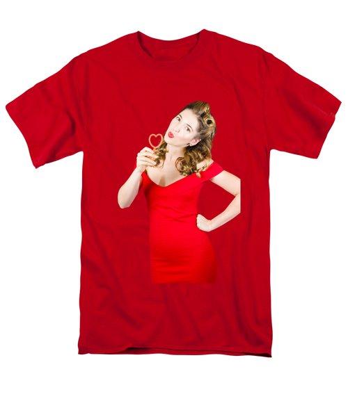 Romantic Blond Pin-up Lady Blowing Party Bubbles Men's T-Shirt  (Regular Fit)