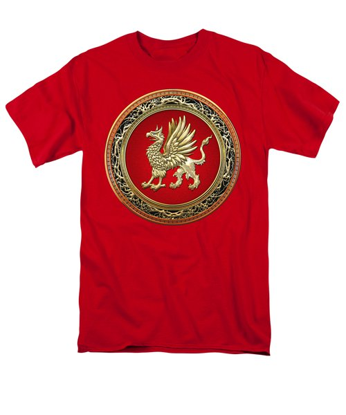 Sacred Gold Griffin On Red Leather  Men's T-Shirt  (Regular Fit) by Serge Averbukh