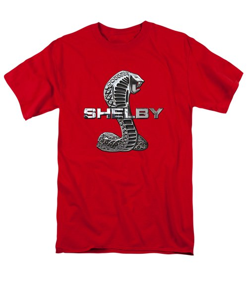 Shelby Cobra - 3d Badge On Red Men's T-Shirt  (Regular Fit) by Serge Averbukh