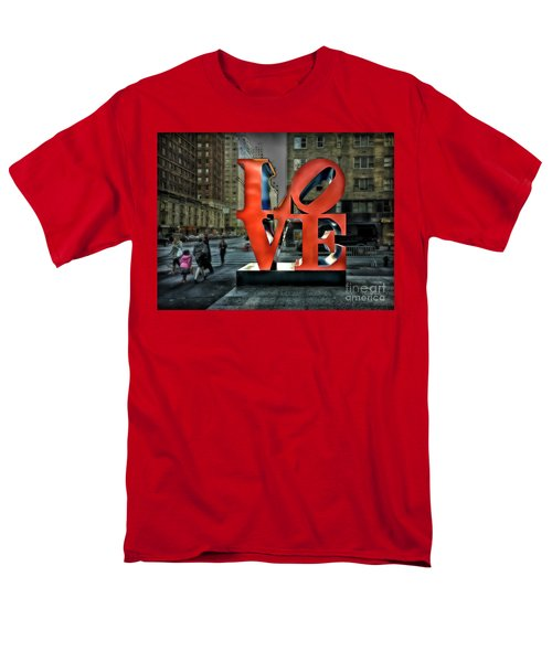 Men's T-Shirt  (Regular Fit) featuring the photograph Sights In New York City - Love Statue by Walt Foegelle