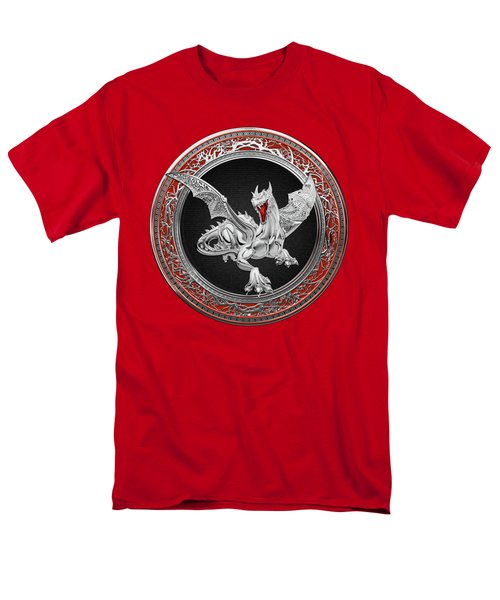 Silver Guardian Dragon Over Red Velvet  Men's T-Shirt  (Regular Fit)