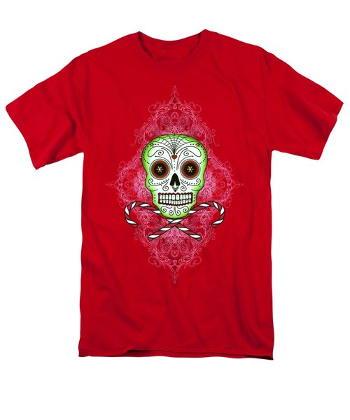 Skull And Candy Canes Men's T-Shirt  (Regular Fit)