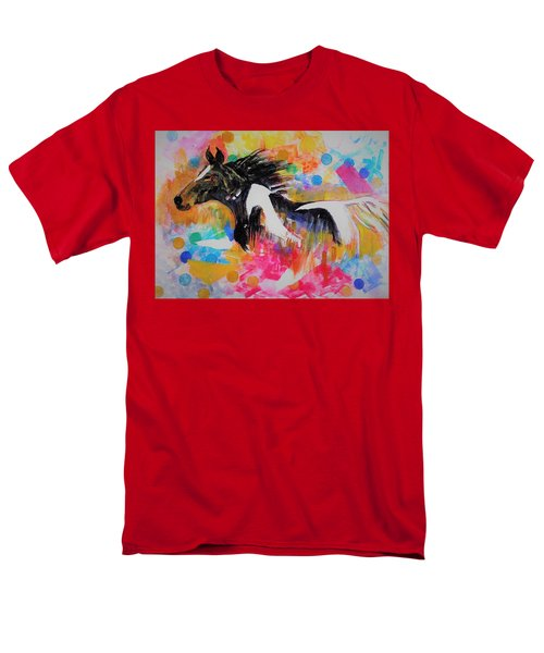 Stallion In Abstract Men's T-Shirt  (Regular Fit) by Khalid Saeed