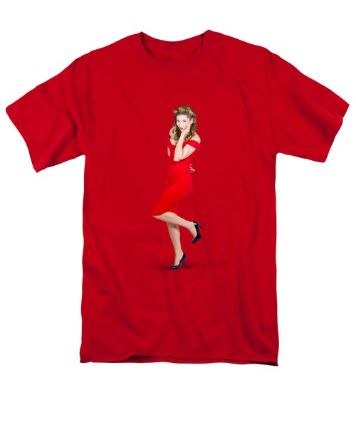 Stunning Pinup Girl In Red Rockabilly Fashion Men's T-Shirt  (Regular Fit) by Jorgo Photography - Wall Art Gallery