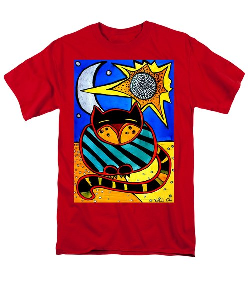 Sun And Moon - Honourable Cat - Art By Dora Hathazi Mendes Men's T-Shirt  (Regular Fit)