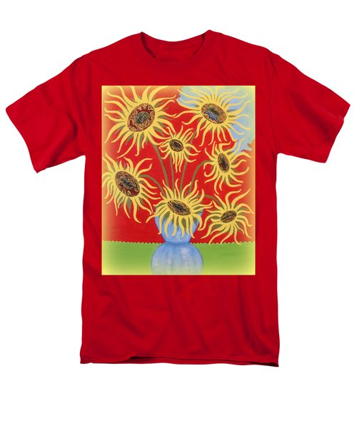 Sunflowers On Red Men's T-Shirt  (Regular Fit) by Marie Schwarzer