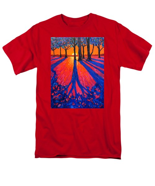 Sunrise In Glory - Long Shadows Of Trees At Dawn Men's T-Shirt  (Regular Fit) by Ana Maria Edulescu