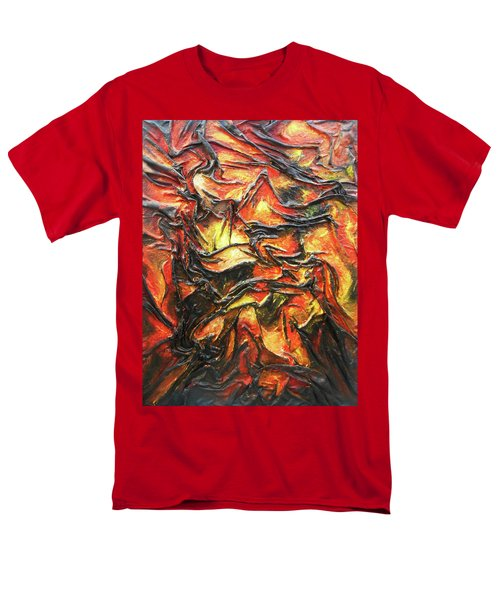Men's T-Shirt  (Regular Fit) featuring the mixed media Texture Of Fire by Angela Stout