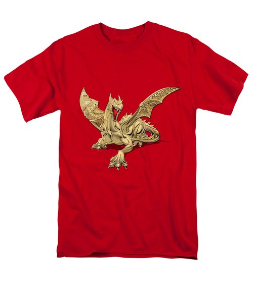 The Great Dragon Spirits - Golden Guardian Dragon On Red And Black Canvas Men's T-Shirt  (Regular Fit)
