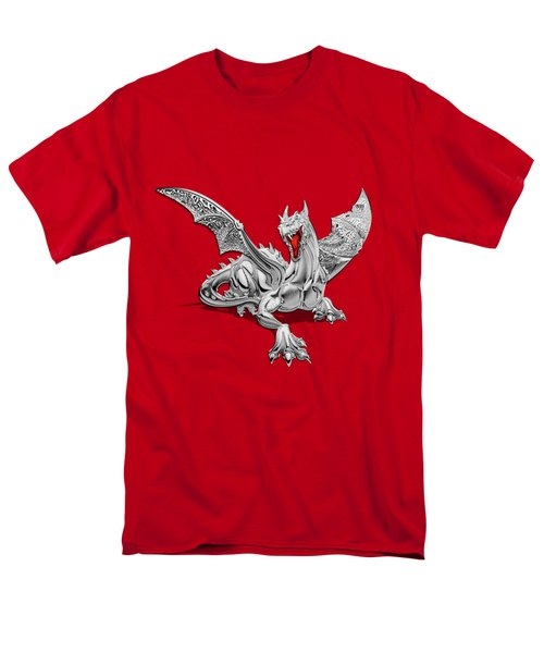 The Great Dragon Spirits - Silver Guardian Dragon On Black And Red Canvas Men's T-Shirt  (Regular Fit) by Serge Averbukh