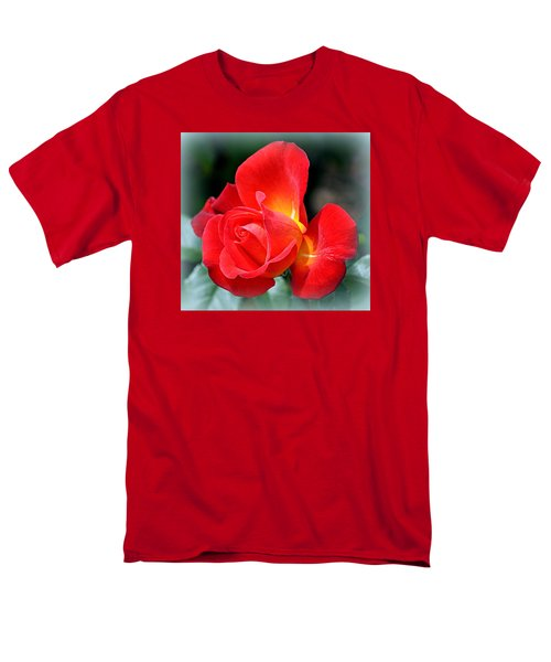 Men's T-Shirt  (Regular Fit) featuring the photograph The Red Rose by AJ  Schibig