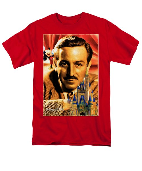 Men's T-Shirt  (Regular Fit) featuring the painting The World Of Walt Disney by Ted Azriel