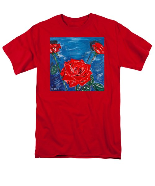 Three Red Roses Four Leaves Men's T-Shirt  (Regular Fit) by Valerie Ornstein
