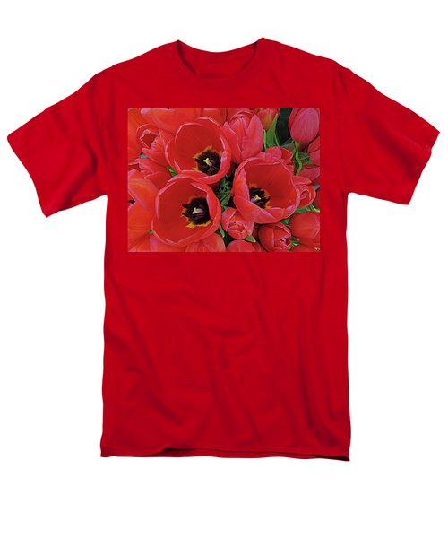 Men's T-Shirt  (Regular Fit) featuring the photograph Tulip Parade by Suzy Piatt