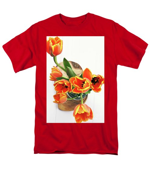 Men's T-Shirt  (Regular Fit) featuring the pyrography Tulips by Stephanie Frey