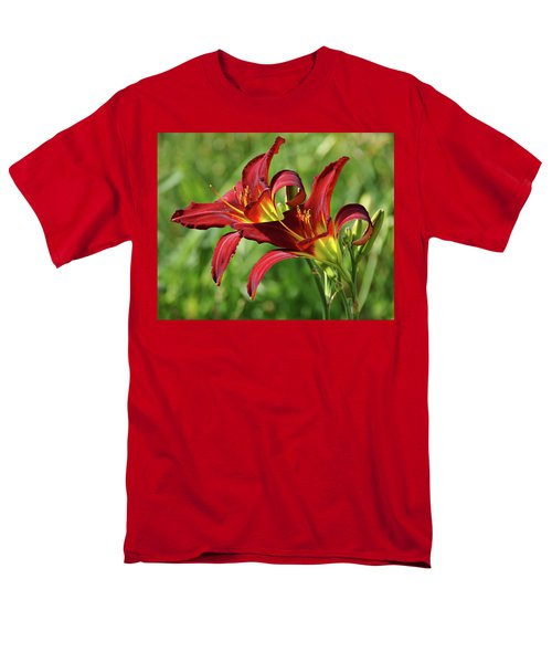 Men's T-Shirt  (Regular Fit) featuring the photograph Twin Daylilies by Sandy Keeton