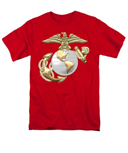 U. S. Marine Corps Eagle Globe And Anchor - E G A On Red Leather Men's T-Shirt  (Regular Fit) by Serge Averbukh