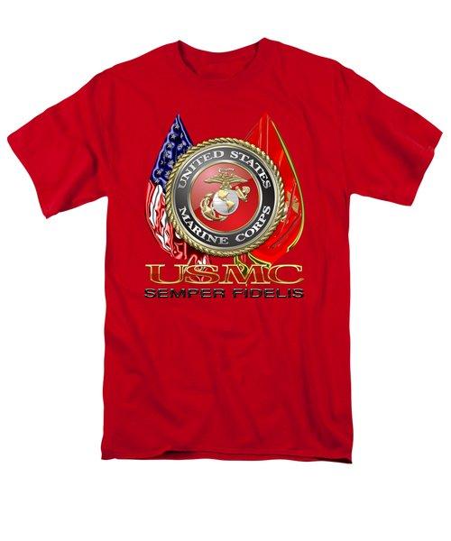 U. S. Marine Corps U S M C Emblem On Red Men's T-Shirt  (Regular Fit) by Serge Averbukh