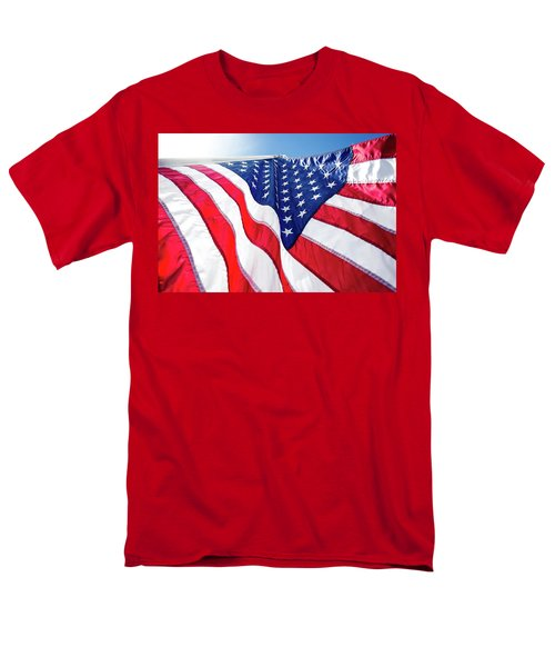 Usa,american Flag,rhe Symbolic Of Liberty,freedom,patriotic,hono Men's T-Shirt  (Regular Fit) by Jingjits Photography