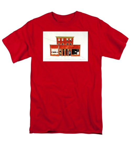 Men's T-Shirt  (Regular Fit) featuring the painting Washington Street Barbers by William Renzulli