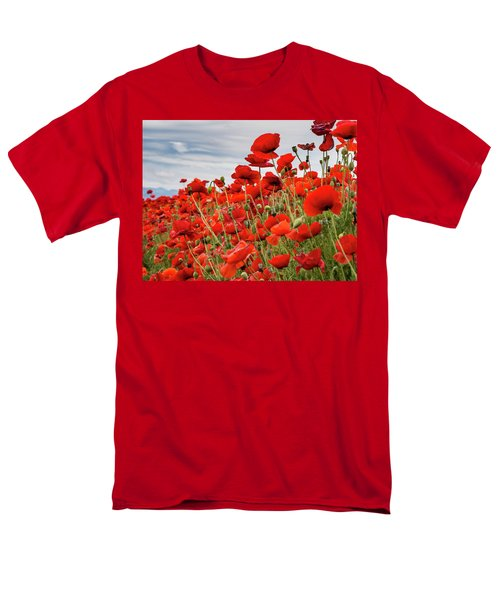 Waving Red Poppies Men's T-Shirt  (Regular Fit) by Jean Noren