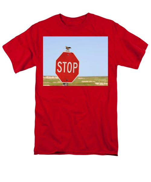 Western Meadowlark Singing On Top Of A Stop Sign Men's T-Shirt  (Regular Fit) by Louise Heusinkveld