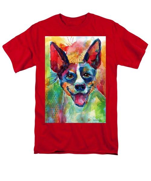 Whimsical Rat Terrier Dog Painting Men's T-Shirt  (Regular Fit) by Svetlana Novikova