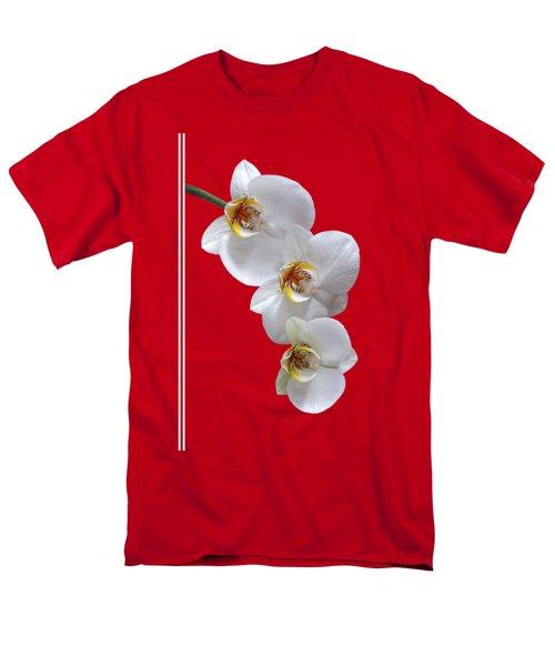 White Orchids On Terracotta Vdertical Men's T-Shirt  (Regular Fit) by Gill Billington